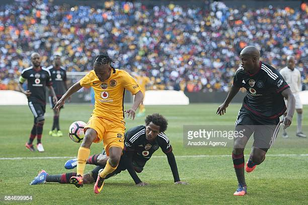 Gcaba Ayanda of Orlando Pirates in action against Ekstein Hendrick Kaizer Chiefs FC during 2016 Carling Black Label Cup between Kaizer Chiefs FC and...