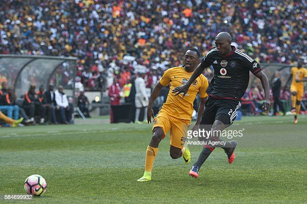 Gcaba Ayanda of Orlando Pirates in action against Parker Bernard Kaizer Chiefs FC during 2016 Carling Black Label Cup between Kaizer Chiefs FC and...