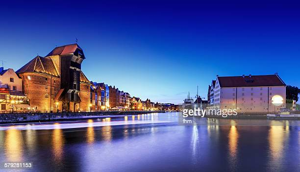 Gdansk at blue hour, with the famous port crane