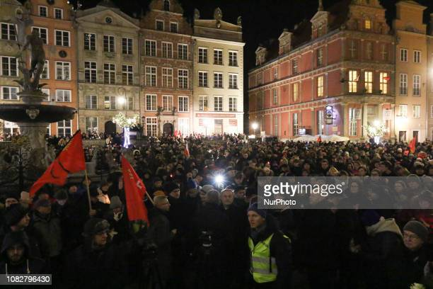 Gdansk citizens paying honour in silence to the murdered Mayor Pawel Adamowicz on the main old city square are seen in Gdansk Poland on 14 January...