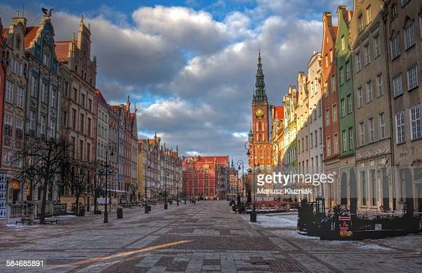Gdansk Long Market Street and Town Hall sunrise