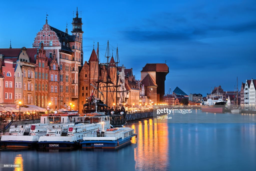 Gdansk old town and Motlawa river at night : Stock Photo