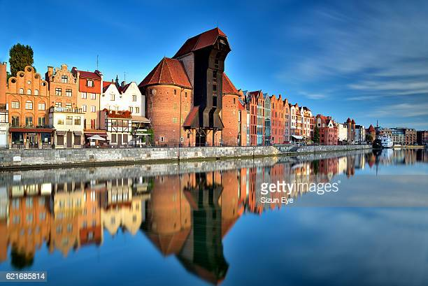 Gdansk old town with reflection in the Motlawa River, Poland.