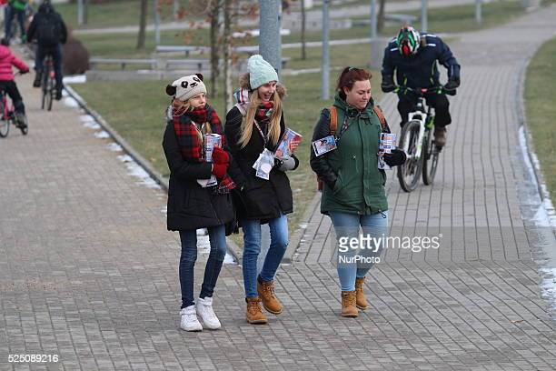 Gdansk Poland 10th January 2016 A volunteer with a money box is seen during collecting money for 24th Grand Finale of Great Orchestra of Christmas...
