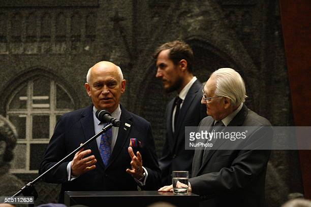 Gdansk Poland 16th Dec 2015 Director Andrzej Wajda and Andrzej Pagowski speak during the ceremony of 45th Anniversary Of 1970 Polish Protests on...