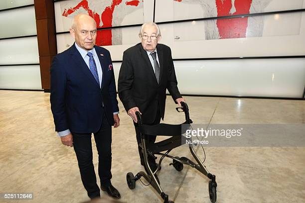 Gdansk Poland 16th Dec 2015 Director Andrzej Wajda and artist Andrzej Pagowski poses during the ceremony of 45th Anniversary Of 1970 Polish Protests...