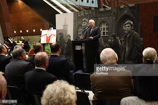 Gdansk Poland 16th Dec 2015 Former Polish president and a Nobel Peace Prize winner Lech Walesa speaks during the ceremony of 45th Anniversary Of 1970...