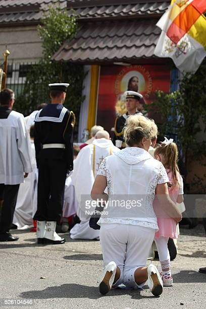 Gdansk Poland 19th June 2014 Corpus Christi procession in Gdynia Oksywie Catholic people in Poland celebrate Corpus Christi during the Holly Mass and...