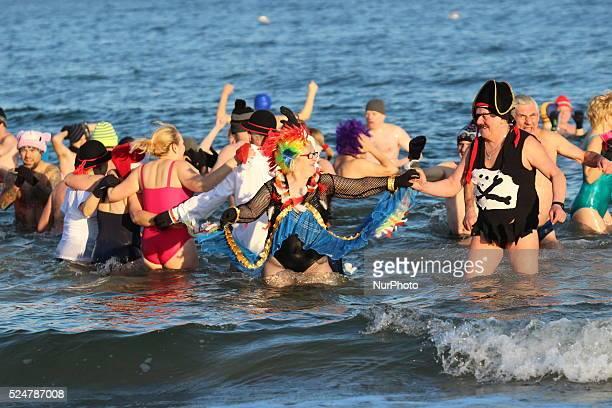 Gdansk Poland 1st Jan 2016 Members of winter swimming club Gdanskie Morsy enter the Baltic Sea in Gdansk The winter swimmers from Gdansk celebrate...