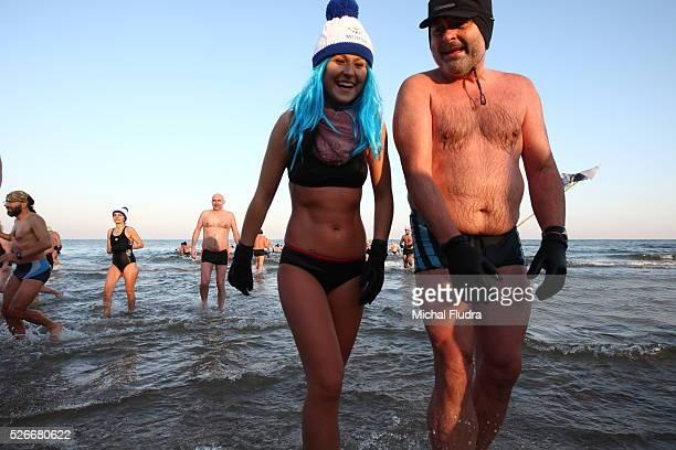 Gdansk Poland 1st Jan 2016 Members of winter swimming club 'Gdanskie Morsy' enter the Baltic Sea in Gdansk The winter swimmers from Gdansk celebrate...