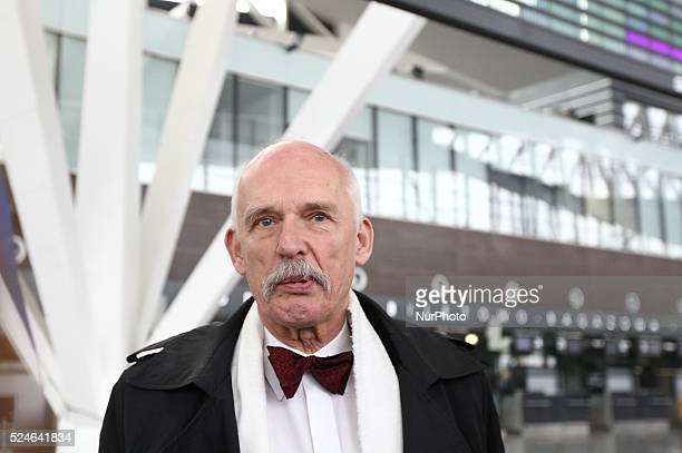 Gdansk Poland 20th March 2015 Lech Walesa Airport in Gdansk Far right politician and candidate for President of Poland Janusz Korwin Mikke press...