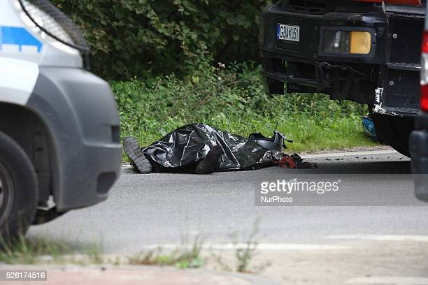 Gdansk Poland 22nd August 2014 72 yo man dead when his scooter hits the lorry on the crossroad in Kokoszki district of Gdansk Police investigate on...
