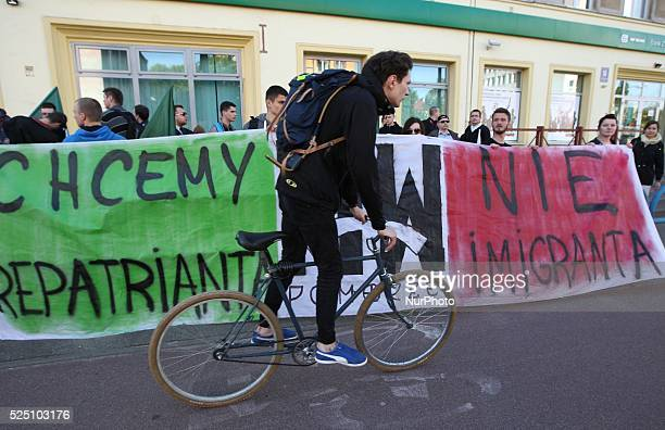 Gdansk Poland 22nd May 2015 Far right and nationalists activists protest outside the Immigrants Support Centre in Gdansk against the new EU...