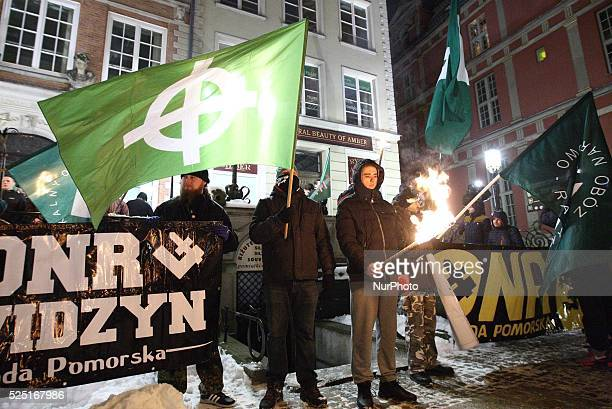Gdansk Poland 23rd January 2016 Antiimmigrants rally in Gdansk city centre Dozen farright activists from ONR and Mlodziez Wszechpolska organizations...