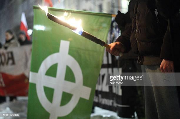 Gdansk Poland 23rd January 2016 Antiimmigrants rally in Gdansk city centre Dozen farright activists from ONR and Mlodziez Wszechpolska organizations...