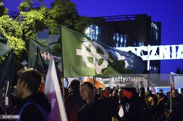 Gdansk Poland 23rd Oct 2015 Antiimmigrants and antimuslims march held in Gdansk Far right activists from ONR and Mlodziez Wszechpolska organisations...