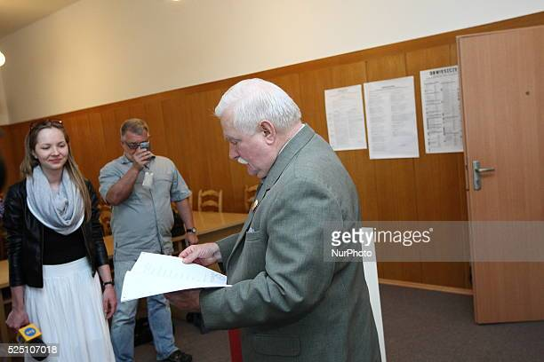 Gdansk Poland 25th May 2014 Former President of Poland and Solidarity Movement leader Lech Walesa votes in the European Parliament elections in...