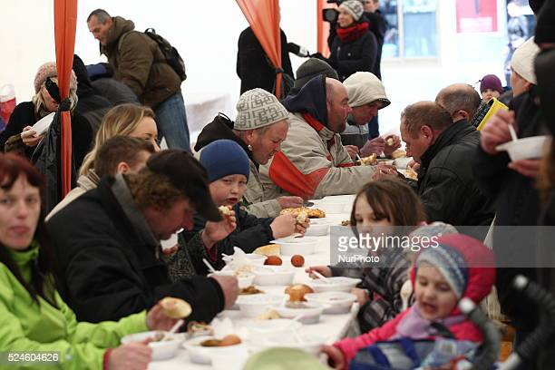 Gdansk Poland 4th April 2015 Annual Easter meal for lonely poor homeless and living in poverty people oragnized by restaurators and City Authorities...