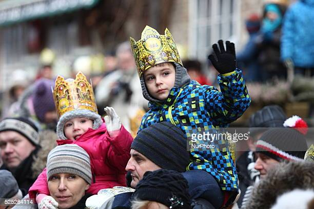 Gdansk Poland 6th Jan 2014 Three Kings procession on Gdansk streets During Epiphany Three Kings processions featuring Caspars Melchiors and...