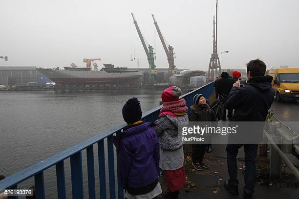 Gdansk Poland 7th Nov 2015 Gdansk Sailing ship launching in the Remontowa Shipbuilding shipyard in Gdansk Ship built for the Algerian Navy is the...