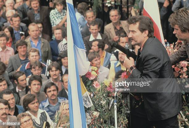 Poland Strike leader Lech Walesa speaking to his supporters at the Lenin shipyard gate