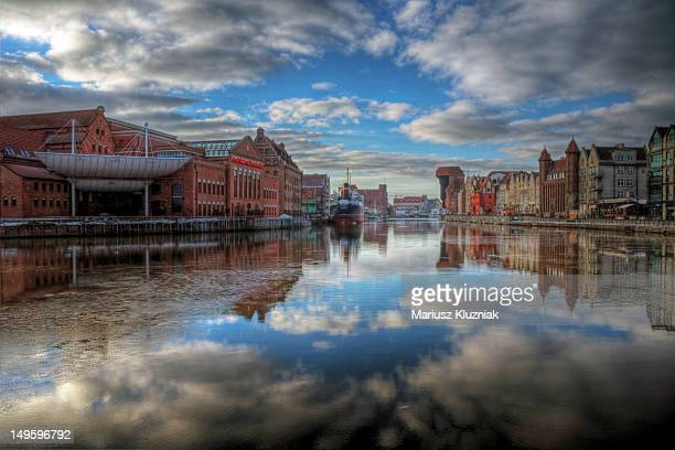 gdansk  reflection - motlawa river stock pictures, royalty-free photos & images