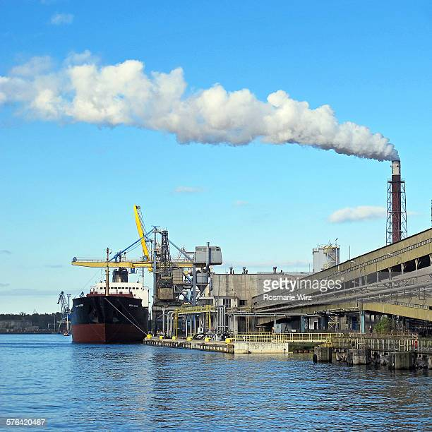 gdansk shipyard along motlawa river - pomorskie province stock photos and pictures