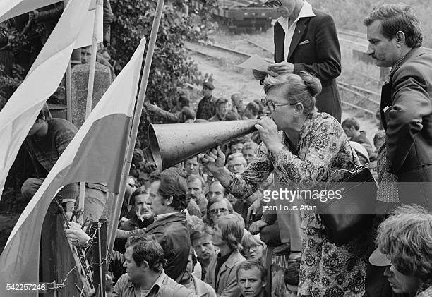Gdansk shipyard workers on strike with their representative Lech Walesa before negotiations between Walesa and Polish leader General Jaruzelski about...