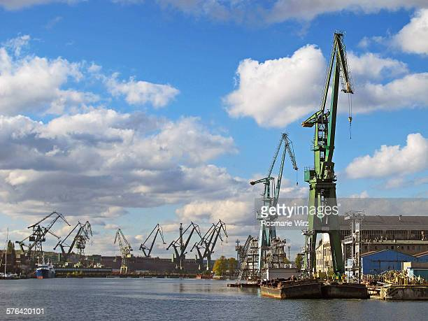 gdansk shipyards along motlawa river - pomorskie province stock photos and pictures