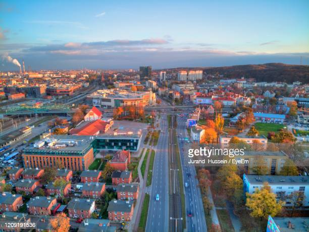 gdansk wrzeszcz aerial view - gdansk stock pictures, royalty-free photos & images