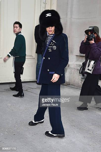 Dragon arrives at the Chanel fashion show Paris Fashion Week Haute Coture Spring /Summer 2016 on January 26 2016 in Paris France