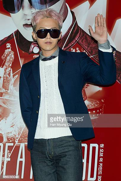 Dragon of South Korean boy band Bigbang attends his documentary film 2013 1st World Tour One of a Kind 3D press screening on October 28 2013 in Seoul...