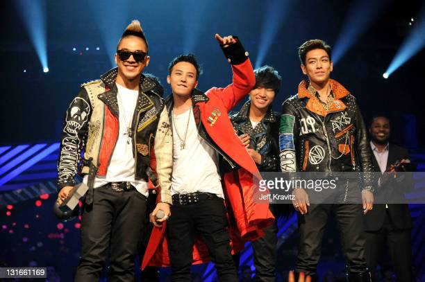 Dragon Taeyang TOP Daesung and Seungri of Korean band Bigbang receive the Best Worldwide Award during the MTV Europe Music Awards 2011 live show at...