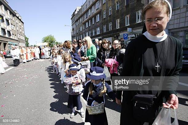 Gdynia 4th June 2015 Corpus Christi procession in Gdynia Several houndreds of catholics takes part in the procession of the Blessed Sacrament...