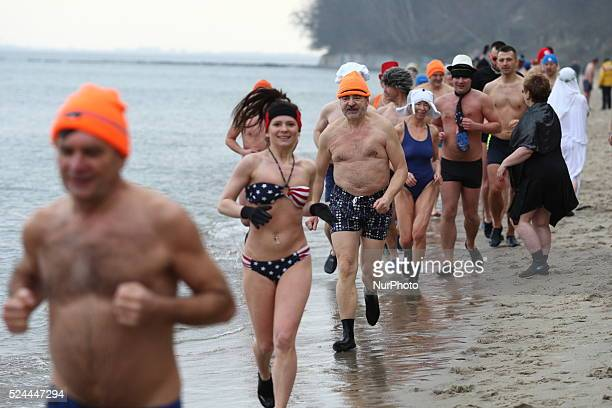 Gdynia Poland 1st Jan 2015 Gdynia Walrus Club memebers welcome New Year 2015 by swimming in the cold Baltic Sea water