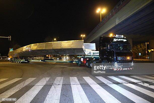 Gdynia Poland 3rd November 2014 Nightly transport of footbridge for pedestrians and cyclists built in the Polish 'Vistal' factory in Gdynia for...