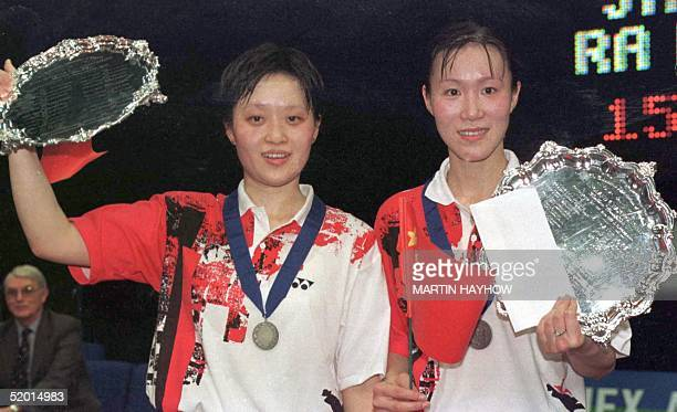 Ge Fei and Gu Jun of China who won the 1998 Yonex All England Open Badminton Ladies Doubles Championships at Birmingham England by defeating Jang Hye...