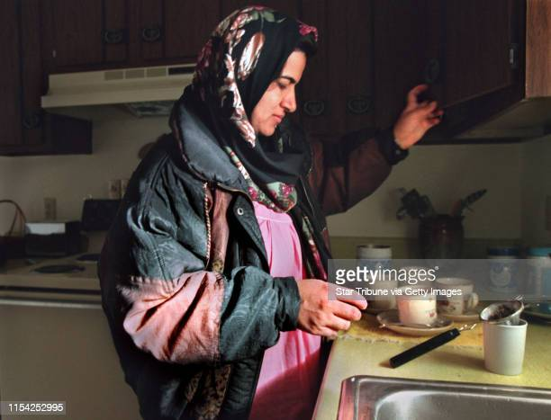 Gean Abdulrahman wife of Jamal Amin makes Tea for the first time in her new home in an Apartment complex in west Fargo