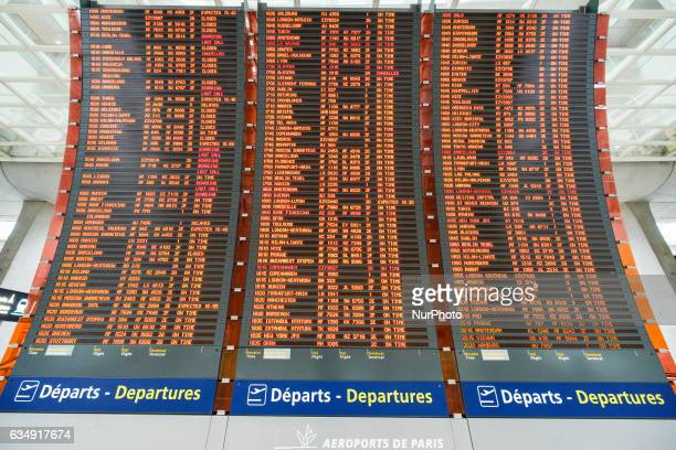 Geant Departures board at the Terminal 2 of Paris Charles de Gaulle Airport. On Sunday, 12 February in Paris, France.