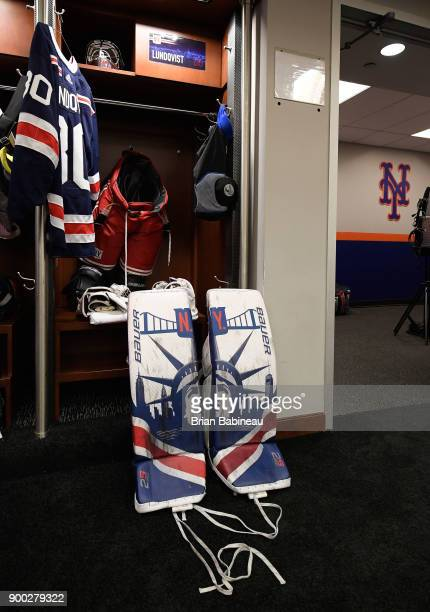 Gear belonging to Henrik Lundqvist of the New York Rangers sits in the lockerroom prior to the 2018 Bridgestone NHL Winter Classic between the New...