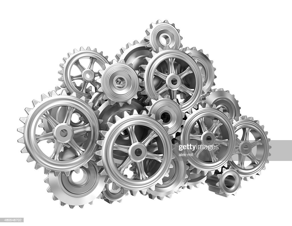 Gear cloud on white isolated background : Stock Photo