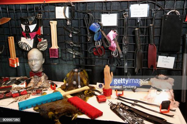 BDSM gear is displayed in the Ravynblood Leather booth during the 2018 AVN Adult Entertainment Expo at The Joint inside the Hard Rock Hotel Casino on...