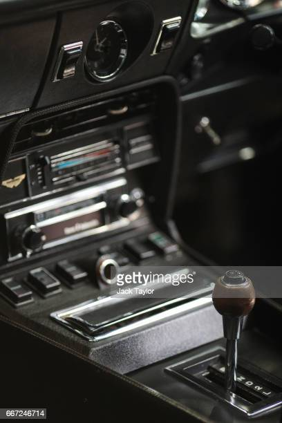 A gear stick sits in a 1973 Aston Martin V8 at the Royal Horticultural Halls on April 11 2017 in London England Coys automobile auctioneers are...