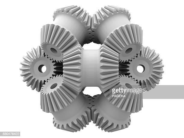 gear wheels, artwork - entrelazado fotografías e imágenes de stock