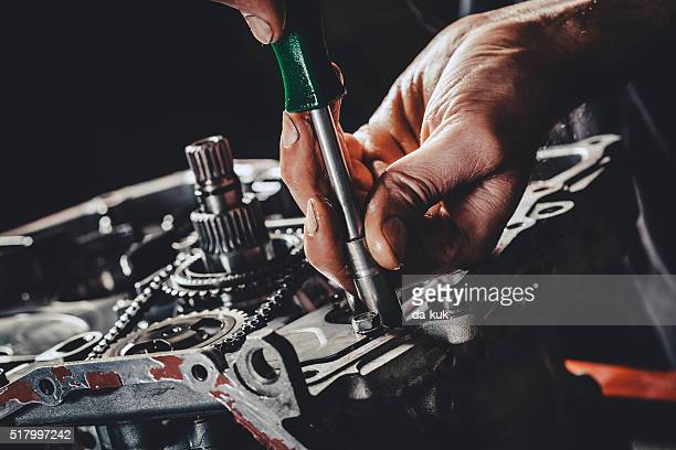 cvt gearbox repair closeup - screwdriver stock pictures, royalty-free photos & images