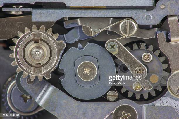 Gears and Levers Inside Old Mechanical Camera