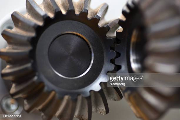 Gears are displayed at the Kohara Gear Industry Co factory in Kawaguchi Japan on Tuesday Feb 12 2019 Japan is scheduled to release fourthquarter...