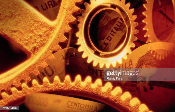 Gears, Belgian Currency, and Clock