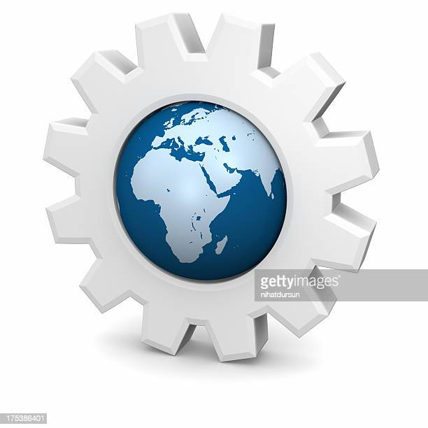 Gears Globe with Europe,Africa,Asia
