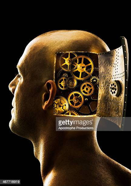 gears inside man's head - blacksburg stock pictures, royalty-free photos & images